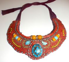Tibetan Tribal Beaded Bib Vintage Necklace by Gypsyinstilettos