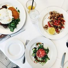 Steak and Eggs, Grilled Calamari, and Tuna Tartare
