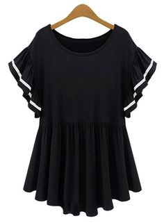 Trendy Scoop Neck Short Striped Batwing Sleeve Loose Dress For Women