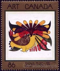 Kenojuak Ashevak art featured on Canadian postage stamp Native American Artwork, Native American Artists, Canadian Artists, Postage Stamp Art, Canada Images, Inuit Art, Thinking Day, Art Programs, Ideas