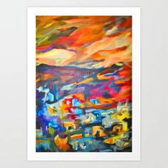 My Village   Colorful Small Mountainy Village Art Print Fine Art Prints, Colorful, Gallery, Frame, Painting, Picture Frame, Roof Rack, Art Prints, Painting Art