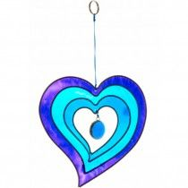 Heart Shaped Sunlight Catcher Blue