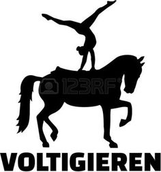 mujer cabalgando: Horse Vaulting silhouette with german word