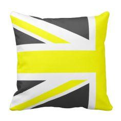 Dark Grey and Yellow Union Jack Half Custom Cushions, Grey Cushions, Throw Cushions, Grey Yellow, Dark Grey, Decorative Throws, Union Jack, Quilts, Kitchen