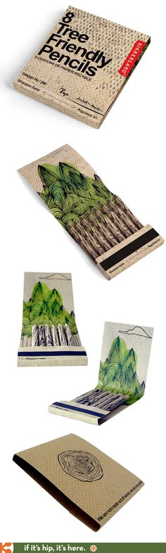 Kikkerland Tree Friendly Pencils in illustrated, recyclable packaging by Andrea Roman Design.
