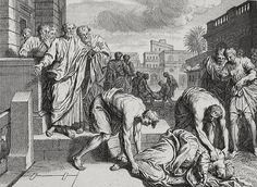 Luke in the Phillip Medhurst Collection 603 The death of Sapphira Acts 5:1-10 Dutch Bible on Flickr. A print from the Phillip Medhurst Collection of Bible illustrations, published by Revd. Philip De...