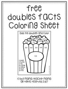 Practice adding doubles facts with this free popcorn themed coloring page. Doubles Worksheet, Math Doubles, Doubles Facts, Doubles Song, Math Classroom, Kindergarten Math, Teaching Math, Math Work, Fun Math