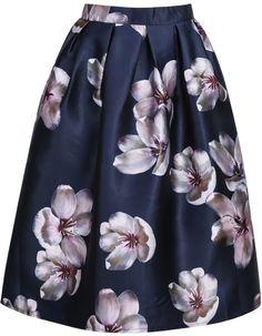 Purple Vintage Floral Pleated Skirt 23.67