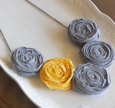 Gray and Yellow Rosette Bib Necklace by AdornmentsbyWendi on Etsy, $22.00