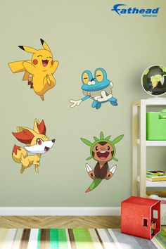 Putting up your vinyl wall decals of these Pokémon is so much easier because all you have to do is peel and stick, and they're removable and reusable without harming your walls — try that with Pokémon stickers. SHOP Fathead wall murals and wall graphics at  http://www.fathead.com/kids/pokemon/kalos-first-partner-collection-wall-decal/ | DIY Kids Fun Bedroom Decor Ideas | Boys + Girls Bedroom Wall Art Decor
