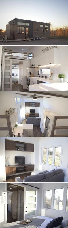 Inspired by their Ébène and Laurier models, the Magnolia by Minimaliste offers a full height main floor bedroom and a bump-out TV area in the living room. Tiny House Luxury, Best Tiny House, Modern Tiny House, Tiny House Living, Tiny House Plans, Tiny House Design, Tiny House On Wheels, House Floor Plans, Living Room