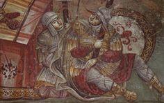Medieval church or Privlepta, Ohrid, Macedonia Byzantine Icons, Byzantine Art, Medieval Clothing, Medieval Art, Military Costumes, Orthodox Icons, Macedonia, Illuminated Manuscript, Religious Art
