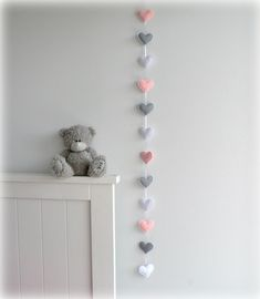Verticle Heart garland Pink gray and white by LullabyMobiles