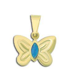 Pingente folheado a ouro em forma de borboleta c/ pedra acrílica
