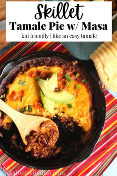 Ground beef skillet tamale pie with a masa topping! Totally family friendly and easy to make!