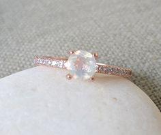 4 Zinke Opal Ring Promise Ring-Ring-Rose Gold Opal von Belesas