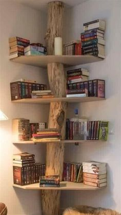 Retro home decor, hippie home decor, tree bookshelf, bookshelves, projects to try Cheap Bookshelves, Tree Bookshelf, Creative Bookshelves, Corner Bookshelves, Bookshelf Design, Bookcase, Tree Shelf, Bookshelf Ideas, Bookshelf Styling