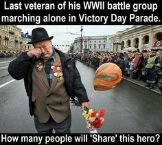 Lonely last man standing. Last veteran from his ww11 group at veterans parade. Made me tear up, thank you for your service.