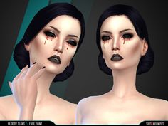 The Sims Resource: Bloody Tears Face Paint by Sims4Krampus • Sims 4 Downloads