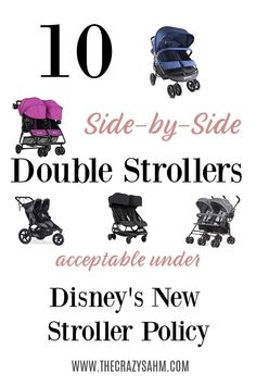 Looking for a double side-by-side stroller that will fit the new Disney stroller policies? Check out this list to find 10 strollers fitting the required measurements. Strollers for Disney. Disney World Strollers. Strollers for Disney Wor Twin Strollers, Double Strollers, Side By Side Stroller, Strollers At Disney World, City Mini Gt, Disney World News, Best Double Stroller, World News Today