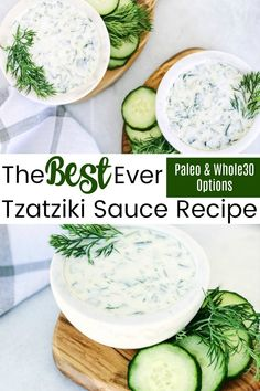 Tzatziki Sauce – Healthy And Delicious With a Paleo and Option Literally the best ever Tzatziki Sauce Recipe that also has Paleo and options. You can use this as a greek topping or just a delicious dip with chips like we do for parties! Greek Taziki Sauce, Homemade Taziki Sauce, Gyros Sauce Recipe, Tatziki Sauce Recipe, Sauce Recipes, Paleo Recipes, Sauces, Aioli, Salads