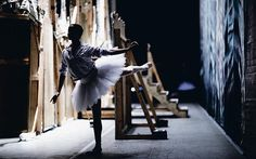 The Nutcracker by the Royal Ballet:  In a quiet moment Pietra Mello-Pittman practises an arabesque behind the flats