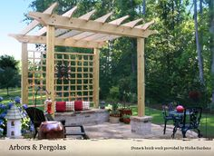 Pergola with seat wall