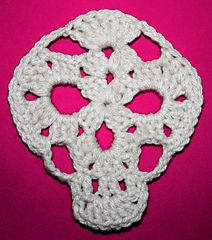 Skull Nouveau - The new openwork lace look skull crochet pattern for applique, granny rectangle motif, and Sugar Skull elements to dress it up!