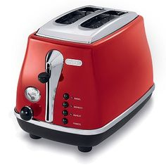 With a fabulous retro look, the Icona Toaster from De'Longhi features a sleek design with chrome details and big bursts of high gloss color. This toaster includes an extra lift position so you can safely remove smaller slices of bread. Cooking Appliances, Small Kitchen Appliances, Home Appliances, Pop Up Toaster, Toaster Ovens, Electric Toaster, Machine Design, Kitchen Essentials, Retro Design