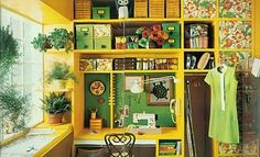adorable yellow sewing nook