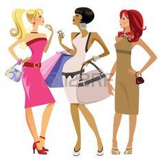 illustration of three stirring girls Stock Vector
