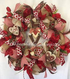Valentine red wreath burlap, burlap hearts wreath , burlap and red valentine wreath, burlap door hanger ,gift for her, valentine love wreat by WreathsbyMonicaG on Etsy https://www.etsy.com/listing/497263384/valentine-red-wreath-burlap-burlap