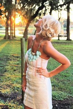 Love the hair, dress, and necklace!