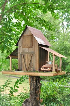 Barn Birdhouse & Old Toy Truck
