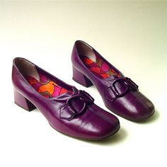 60s vintage Mod Purple Leather Shoes