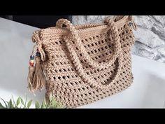 Crochet Bag Tutorials, Crochet Videos, Crochet Stitches, Crochet Patterns, Yarn Crafts, Crochet Top, Purses And Bags, Pouch, Knitting