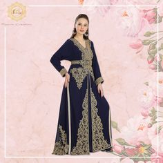 Stand out from the rest in this beautiful navy blue Jalabiya Caftan.  With golden colour beads and hand embroidery, this traditional yet trendy Dubai Caftan is sure to add sparkle to your occasion. ✨  Product no: 7842 Kaftan Abaya, Georgette Fabric, Navy Blue Color, Golden Color, Party Gowns, Hand Embroidery, Bridal Gowns, Dubai, Rest