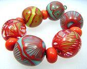 Moogin - Big , bright poppy beads-  lampwork glass bead set  -SRA