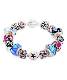 Look at this #zulilyfind! Pink Austrian Crystal & Blue Murano Glass Bracelet #zulilyfinds