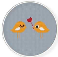 Buy 4 get 1 free ,Buy 6 get 2 free,Counted Cross stitch pattern,Cross-Stitch PDF,Loving you, orange birds in love,ZXXC0263. $4.50, via Etsy.