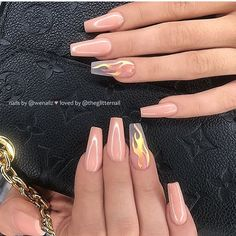 100 Spring Nail Art Designs for Women 2020 Acrylic Nails Coffin Short, Summer Acrylic Nails, Best Acrylic Nails, Coffin Nails, Dope Nails, Swag Nails, My Nails, Grunge Nails, Nails Now