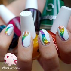 PiggieLuv: Glitter tornado nail art with OPI Color Paints
