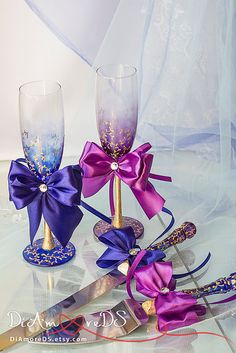 Plum and royal сhampagne flutes & set for cake Lace от DiAmoreDS #wedding glasses, #champagne glasses, #unity candle, #wedding champagne glasses, #wedding accessories, #bride and groom champagne , #bride accessories, #purple wedding, #wedding unity candle, #black and white wedding, #wedding toasting glasses, #wedding flutes, #personalized toasting flutes, #unity candles, #personalized wedding glasses, #wedding, #wedding cake server and knife, #toasting flutes, #garters, #garter…