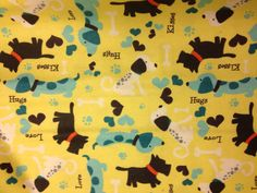 Hey, I found this really awesome Etsy listing at https://www.etsy.com/listing/192987227/flannel-dogs-on-yellow-fabric-dog-fabric