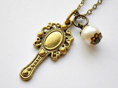 Victorian hand mirror with faux pearl charm by VintageHomage, $7.00