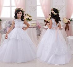2016 Flower Girls Dresses For Weddings Lace White Flowers Sashes Bow Party Princess Children Girl Party Birthday Christmas Communion Gowns Online with $83.77/Piece on Haiyan4419's Store | DHgate.com