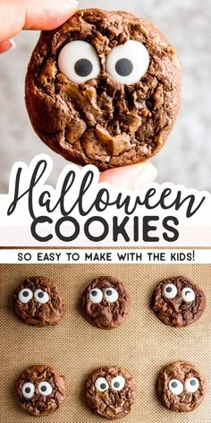 Do you want to make a Halloween treat youll actually have fun making with the kids and that will look exactly like in the picture Try these Cute Monster Eye Cookies Theyr. Halloween Brownies, Halloween Snacks, Halloween Cookie Recipes, Dessert Halloween, Hallowen Food, Halloween Cookies, Easy Cookie Recipes, Holiday Recipes, Dessert Recipes