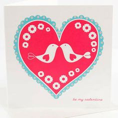 red and blue - love  Scandinavian birds - love  scalloped heart - love