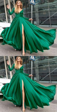 Hunter Green Long Sleeves Evening Dresses with Slit#promdresses #eveningdresses #longpromdresses #2018promdresses #fashionpromdresses #charmingpromdresses #2018newstyles #fashions #teensprom
