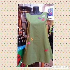 Vestido mujer verde mariposas, hecho a mano